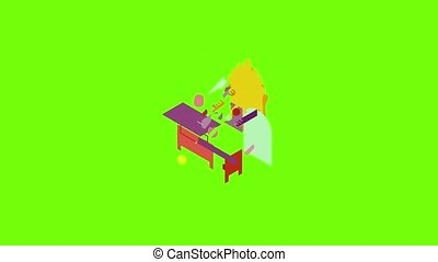 Console mirror icon animation cartoon object on green screen background