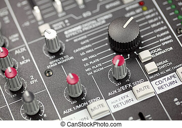 console misturando, áudio, closeup