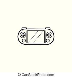console, portátil, doodle, mão, jogo, vídeo, desenhado, icon., esboço