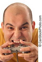 console, spelbesturing, video, kerel, spelend