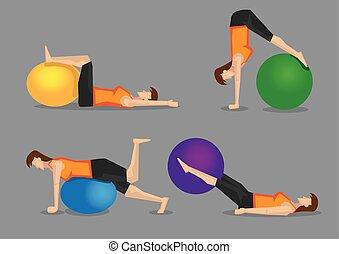 consolidación, gimnasio, pelota, entrenamiento, núcleo