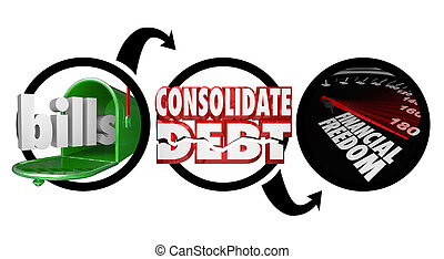consolidate, owed, simplificar, cuentas, financiero, buzón, exposición, dinero, reducir, marcado, finanzas, diagrama, cómo, palabras, libertad, deuda, velocímetro, su