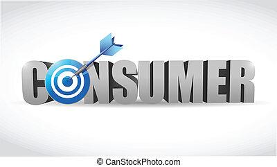 consommateur, mot, cible, illustration