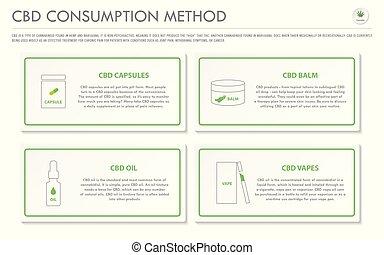 consommation, cbd, méthode, business, horizontal, infographic