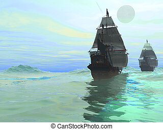 CONSORT - Sister ships sail together on gleaming seas.