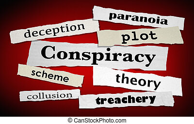 Conspiracy Deception Collusion Newspaper Headlines 3d...