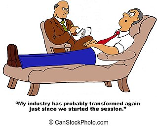 Business cartoon about how fast professions change in today's work world.