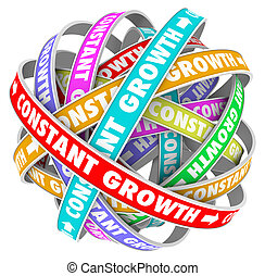 Constant Growth words on a jumbled ball of colored roads or paths to illustrate always getting better, improving and learning new skills and knowledge to succeed in school, job, career or life