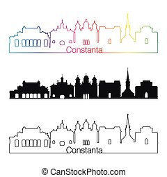 Constanta skyline linear style with rainbow