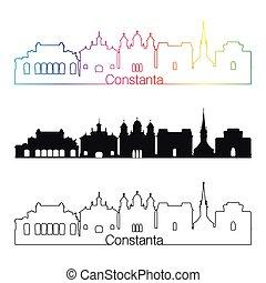 Constanta skyline linear style with rainbow