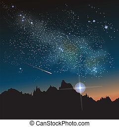 constelação, maneira, leitoso