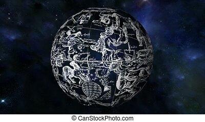 constelação, mapa estrela