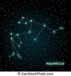 constelación, acuario, ilustración