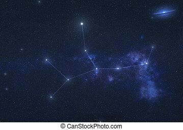constelación, espacio, exterior, virgo