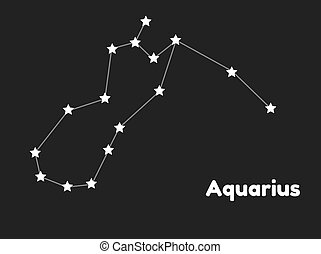 star constellation of aquarius on black background, vector