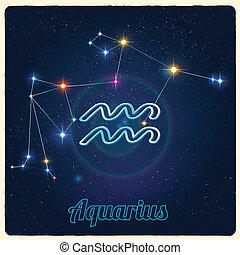 Constellation Aquarius with Zodiac - Vector constellation...