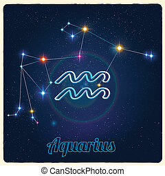 Constellation Aquarius with Zodiac - Vector constellation...