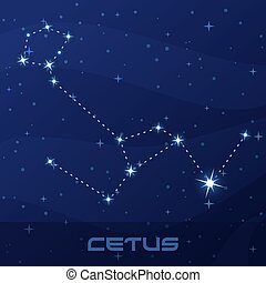 Constellation Cetus, Whale, Sea Monster, night star sky