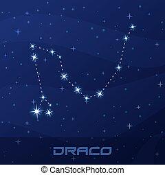 Constellation Draco, Dragon, night star sky, flyer...