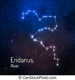 Eridanus River constellation in the night starry sky. Vector illustration