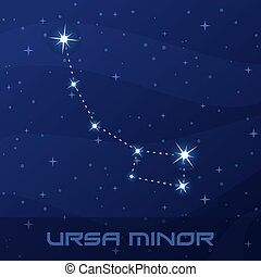 Constellation Ursa Minor, Little Bear night star sky poster,...