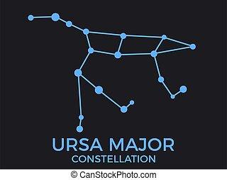 constellation., vecteur, bleu, ursa, illustration, sky., nuit, groupe, galaxies., commandant, arrière-plan., étoiles, constellation, noir