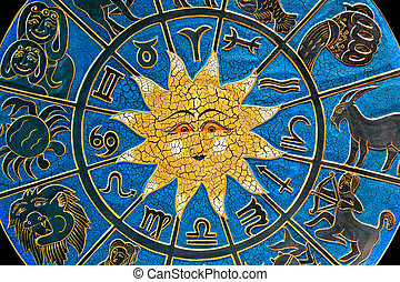 Constellation - Zodiac signs in circle with golden sun