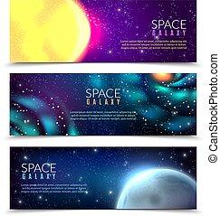 constellations, bannières, espace