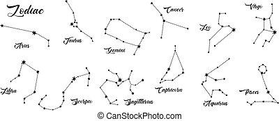 Constellations vector set. 12 zodiac signs. Aries, Taurus, Leo, Gemini, Virgo, Scorpio, Libra, Aquarius, Sagittarius, Pisces, Capricorn, Cancer. Vector illustration isolated.