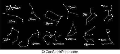 Constellations vector set. 12 zodiac signs. Aries, Taurus, Leo, Gemini, Virgo, Scorpio, Libra, Aquarius, Sagittarius, Pisces, Capricorn, Cancer. Vector illustration isolated on black