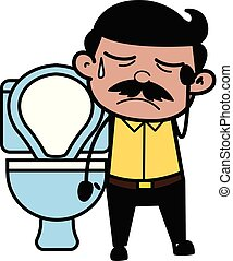 Constipation - Indian Cartoon Man Father Vector Illustration