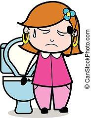 Constipation - Retro Cartoon Female Housewife Mom Vector Illustration