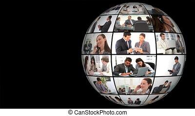 constitué, globe, vidéo, business's