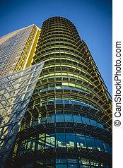 constitué, moderne, cristal, bâtiment, espaces bureau