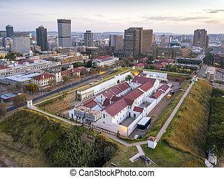constitución, johannesburg, áfrica, colina, vista aérea, sur