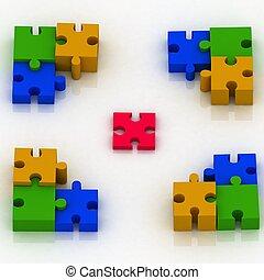 constituent, 3d, concepción, puzzle., opción