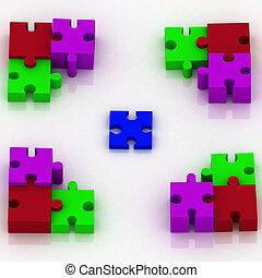 constituent, 3d, ontvangenis, puzzle., keuze