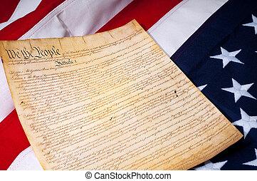 constituição, bandeira, nós, americano, página, primeiro