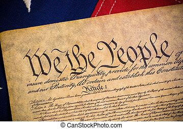 constitution états unie, et, vendange, drapeau américain