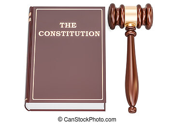 constitution book with gavel, 3D rendering isolated on white background