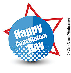 Constitution Day Badge Vector - Drawing Art of Happy...