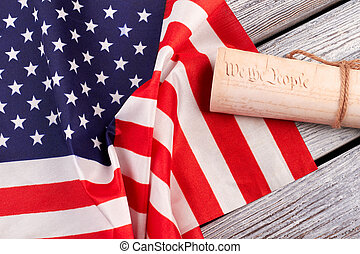 Constitution of the US and USA flag.
