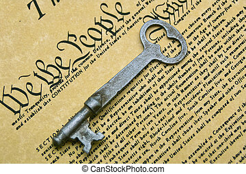 Constitution - The consitution with a skeleton key on it.