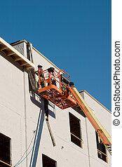 constr, munkás, épület