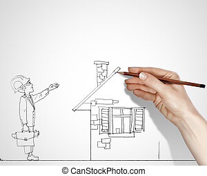 Constraction business business - Blach and white drawing...