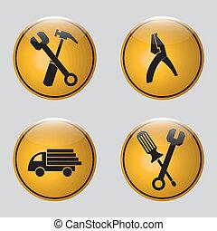 construção, ícones