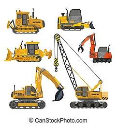 construção, ícones, equipamento, predios, isolado, maquinaria, trabalho