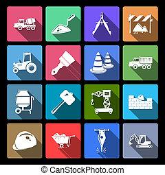 construção, ícones, jogo, apartamento