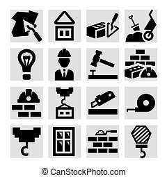 construção, ícones, jogo