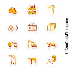 construção, ícones, |, suculento, série